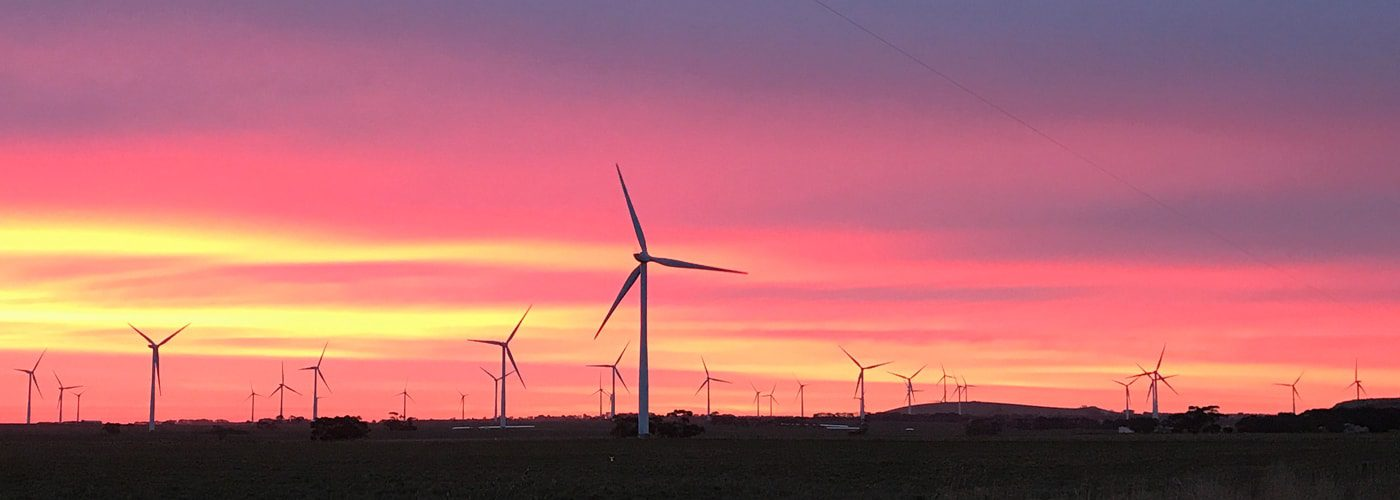 Mt Mercer wind farm at dusk